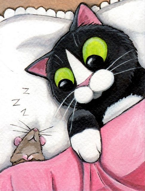 Картинки спокойной ночи с котиками прикольные нарисованные, открытки сайте открытка