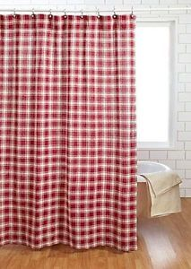 Rustic-Farmhouse-Red-Country-Style-Shower-Curtain-Cotton-Burlap-Breckenridge