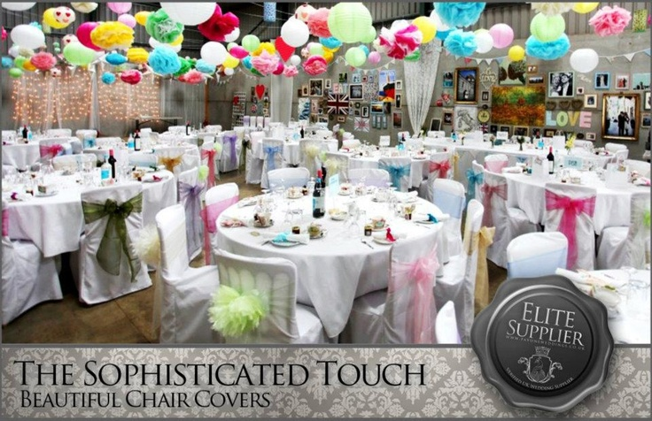 Mixed Pastel Organza Bows on White Chair Covers