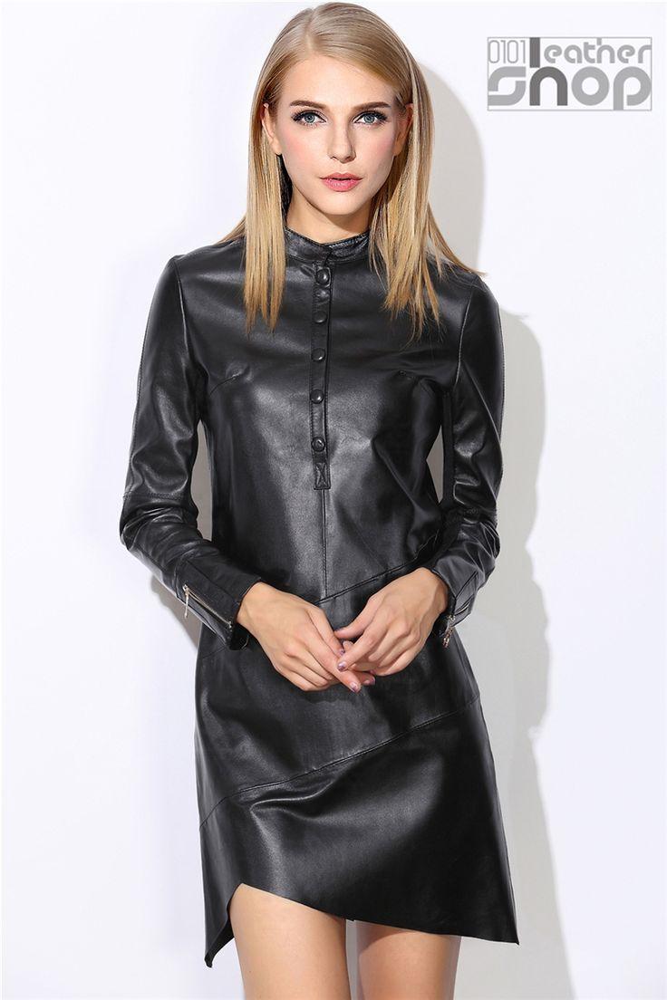 Herbst und Winter Fashion echtes Leder Kleid Frauen der Mittel langen Schaffell…