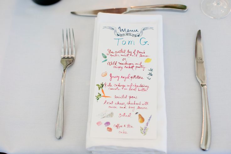 Menus doubled as place cards at dinner.