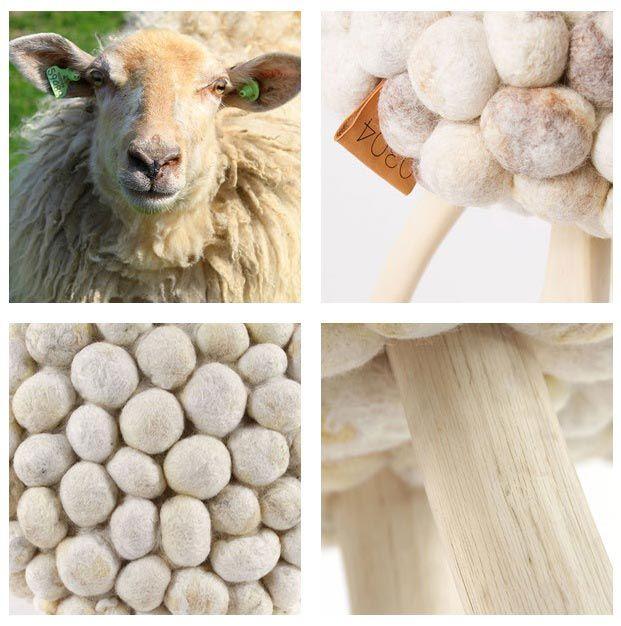Als één schaap over de dam is… Dan wil iedereen een mooi wollig krukje met wol van 0304, en wij ook. De collectie bestaat uit handgemaakte krukjes die gemaakt zijn van snoei- en afvalhout en bekleed met bollen wol van Hollandse schapenrassen als het Bont Schaap en het Kempisch Heideschaap. Doordat ieder schaap zijn eigen kleur wol en structuur heeft, is elk krukje uniek. Leuk als bijzettafeltje, lekker warm en zacht als kruk.