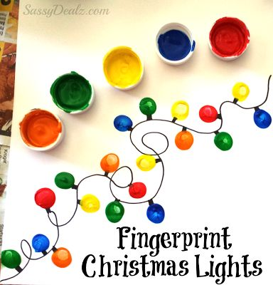 Create a string of colorful Christmas lights with finger paint and add a pop of color to your walls for the holiday season! Cute!