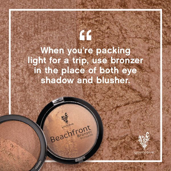 Headed out on a trip? Save some room in your bags by using Beachfront Bronzer in place of eyeshadow and blusher. Use either matte or shimmer side.