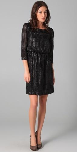 Alice + Olivia  Eleanor Metallic Striped Dress $330