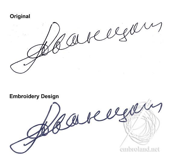Custom signature Machine Embroidery Design Instant