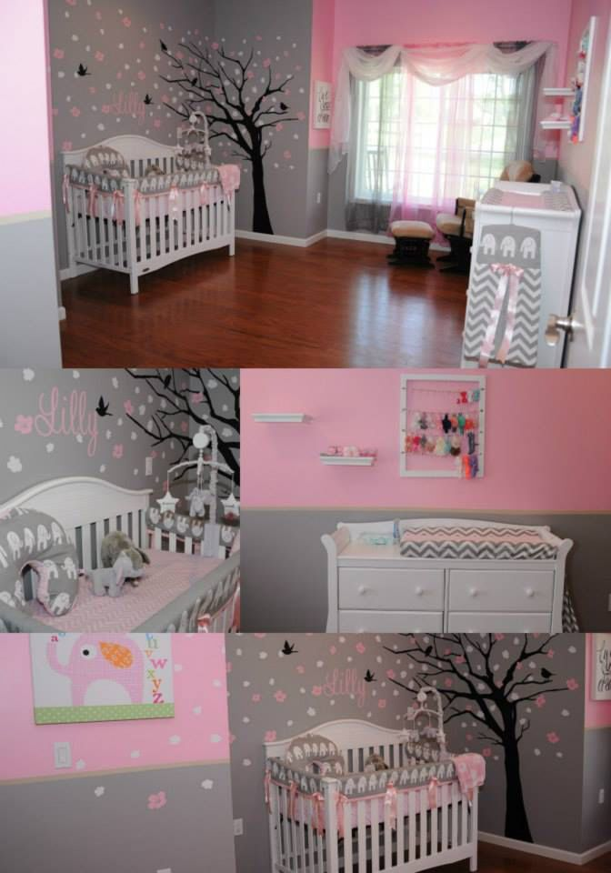 Our little girls nursery, nursery tree, pink and grey, white furniture, nursery elephants, nursery tree, headband holder, headband rack. For our baby girl Lilly Grace :)