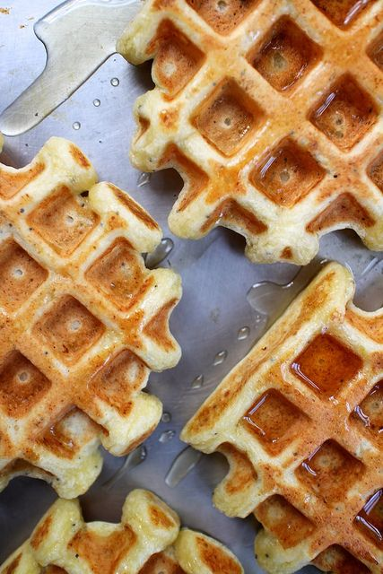 Lemon, Poppy seed and ricotta waffles. Looking for a new and interesting waffle recipe, this could be it! These look both fluffly and delicious. Perfect for a Belgian waffle maker.