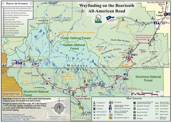 Beartooth Highway Wayfinding Map--Goes up to 10,947 feet in elevation, certainly a surprise when you find yourself driving this pass accidentally