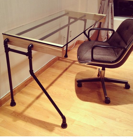 Glass & Pipe Bent-leg Desk                                                                                                                                                     More