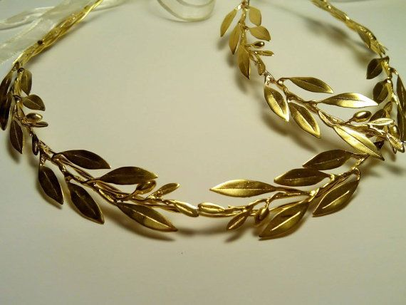 Golden bridal headpieces Raw Bronze branches by ArchStudioGallery