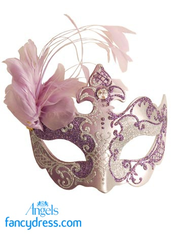 Purple Silver Farfallina, unique to Angels Fancy Dress, is decorated with purple and silver glitters and is finished with a spray of feathers on one side. Each mask in our Venetian Collection is unique. http://www.fancydress.com/costumes/Purple-Silver-Side-Feather-/0~318754~85