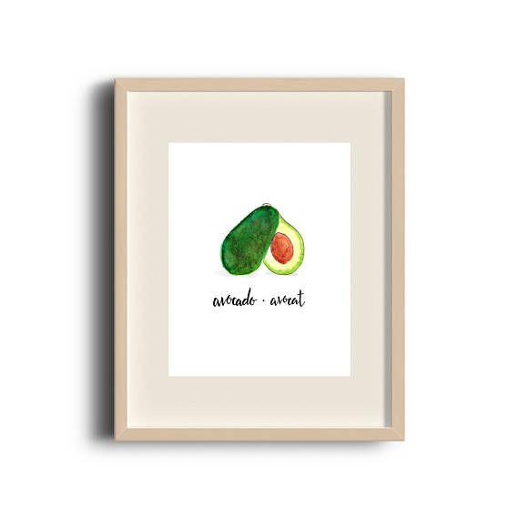 Avocado | Avocado Print | Avocado Art | Avocado Illustration | Avocado Painting | Art Print | Illustration | Fruit Art | Etsy Store | by Élana Camille #ElanaCamilleCreates