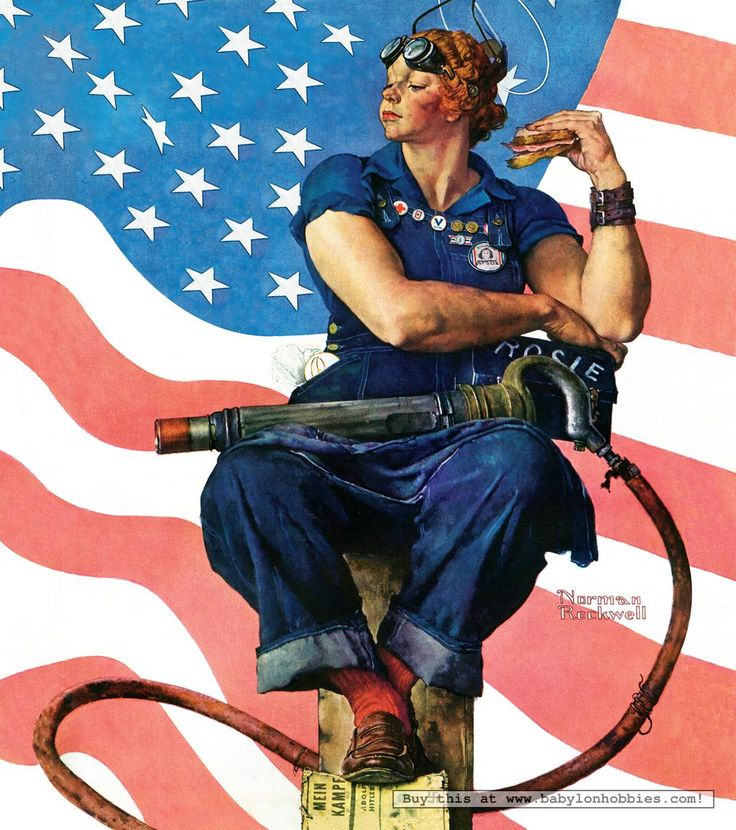 Rosie the Riveter  May 29, 1943.  My favorite version of her, the strapping lass!  Her foot is resting on a copy of Mein Kampf