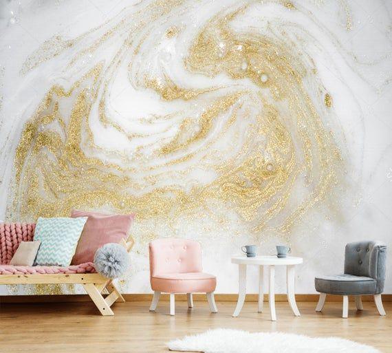White Gold Sparkle Marble Wallpaper 3d Wall Sticker Decor