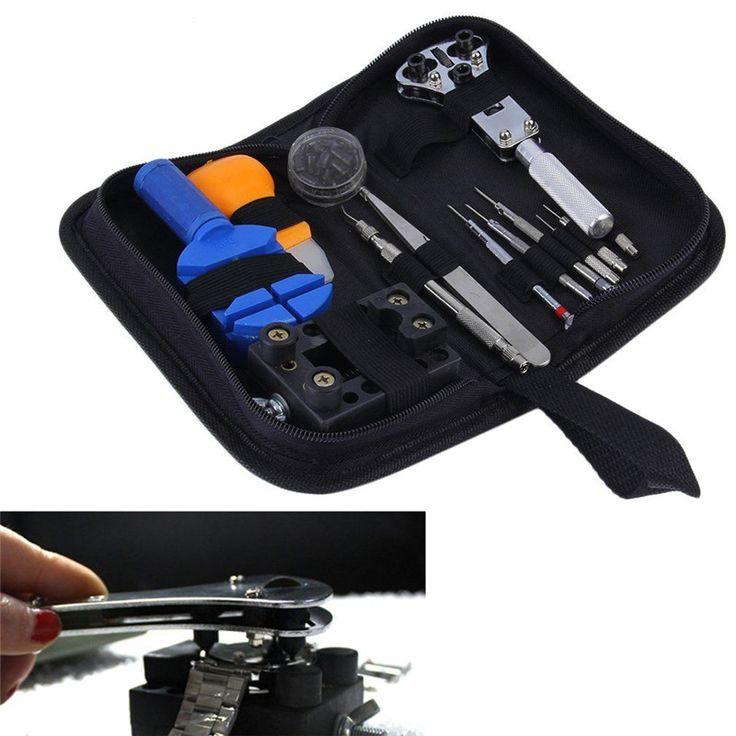 13pcs /Set Watch Repair Tool Kit Set Watch Case Opener Link Spring Bar Remover  Screwdriver Tweezer Watchmaker Dedicated Device