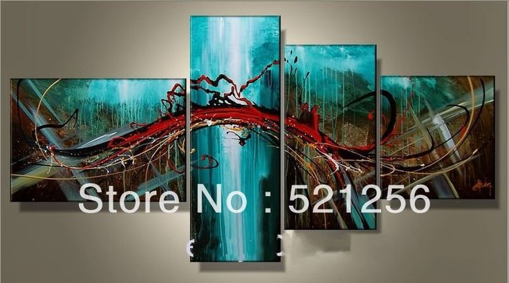 Modern Handpainted Group Triptych
