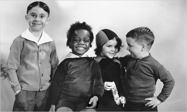 Alfalfa, Buckwheat, Darla, and Spanky of the Little Rascals
