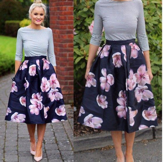 Martina Reynolds - Zara Stripe Top, Sheinside Floral Midi Skirt - Say it with Flowers