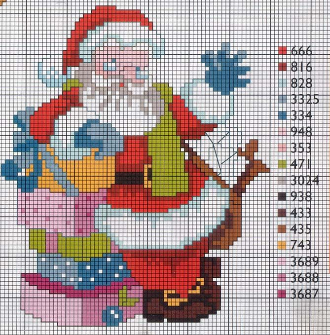 santa claus cross stitch patterns free - Pesquisa Google
