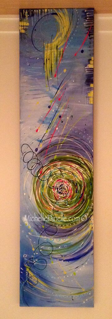 "SPIRAL by Canadian Artist Michelle Dinelle Acrylic on Canvas | 18""x72"" 