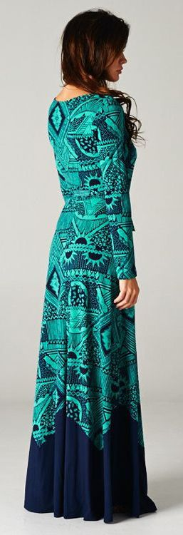 Teal + Navy Maxi Dress