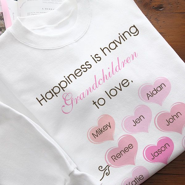 Personalized Grandma Shirt with Grandkids Names - you can add up to 12 names to this cute shirt!  Available in 8 different colors.