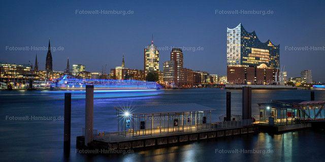 Elbphilharmonie In Hamburg Bei Nacht Hafen City Hamburg Skyline