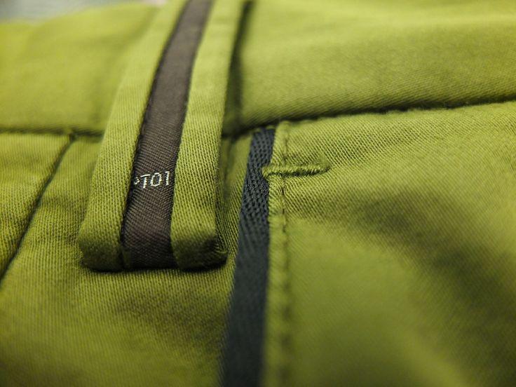 trouser detail on belt loop and pocket edge