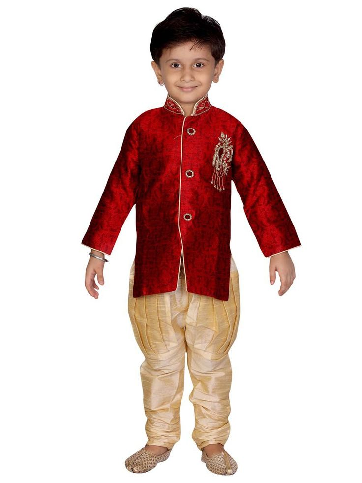 Red Indowestern Set  with cream color breeches pant.  Item code: KDEW104B http://www.bharatplaza.com/new-arrivals/kids-wear.html
