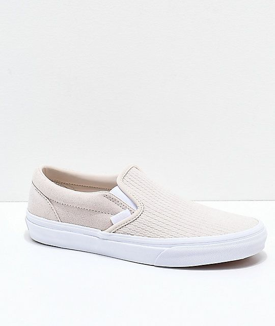 5ce46a1f383 Vans Slip-On Moonbeam & White Embossed Skate Shoes in 2019 | SHOES ...