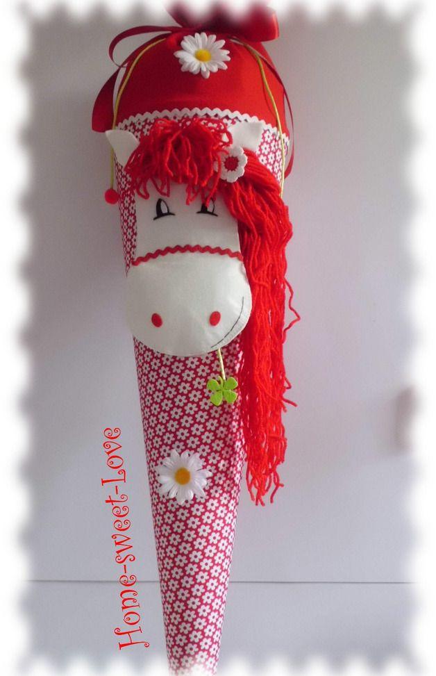 """Schultüten - Schultüte """" Pony in red """" Zuckertüte Pferd - ein Designerstück von Home-sweet-love bei DaWanda"""