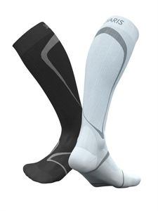 Sports Socks - Increase circulation & improve blood flow. Increase oxygen to muscle tissue. Reduce pulled muscles & less exercised-induced muscle soreness in the legs. Improved energy, performance and recovery. Injury prevention & reduced shin splints & calf cramps. Improve blood circulation & oxygen delivery. Less aching & cramping. Thermal & odour control. Achilles tendon protector reduces vibration on ligaments.