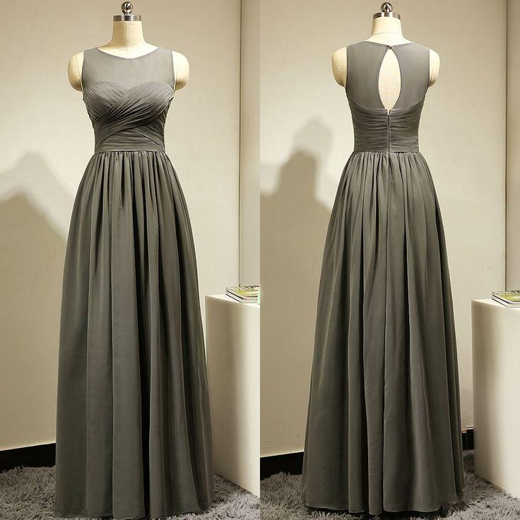 Illusion Chiffon Bridesmaid Dress with a Keyhole Back, Gray Floor-length Bridesmaid Gowns, Trendy Bridesmaid Dress, #01012885