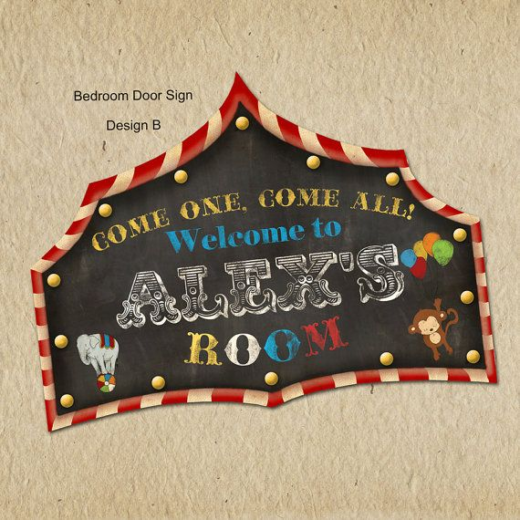 Circus Themed Children's Bedroom Door Sign  by LilMonkeysDesigns, $8.00