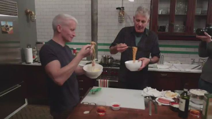 Anderson Cooper and Anthony Bourdain get together to cook budae-jjigae (traslation: Army base stew). Recipe included!