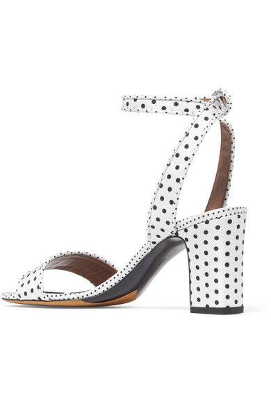 Tabitha Simmons - Leticia Polka-dot Twill Sandals - White - IT40.5