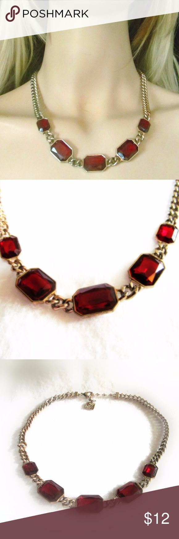 """Vintage Anne Klein Red Rhinestone Chain Necklace Vintage Anne Klein Red Rhineston Chain Necklace Measures approx. 19"""" in length, fully adjustable to whatever length you desire. Condition: Good vintage. Anne Klein Jewelry Necklaces"""