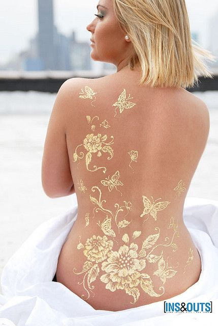 Gold Luxe Glow on Back.Flash Tattoo.