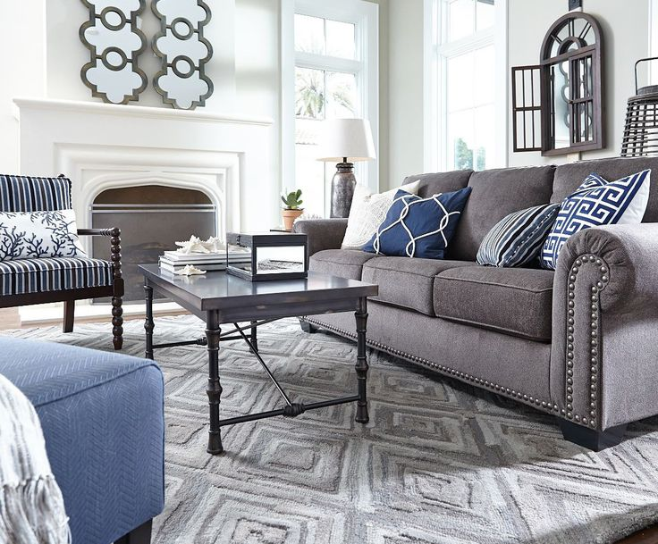 Love The Gorgeously Luxe Look Of Navasota Sofa Transitional Living RoomsGrey SofasNavy SofaFront RoomsBlue RoomsLiving Room