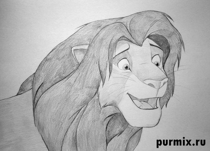 Как нарисовать Симбу из Король лев простым карандашом поэтапно
