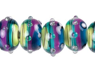 Grace Lampwork Begonia Stripes Roundel Bead Strand (7 pcs)