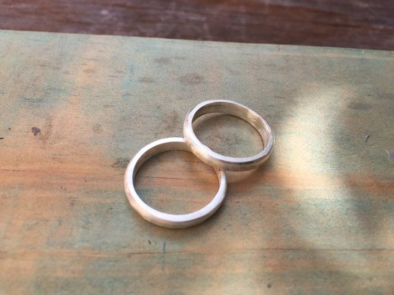 FREESHIPPING thick stacking rings satin stacking by SilverPinions