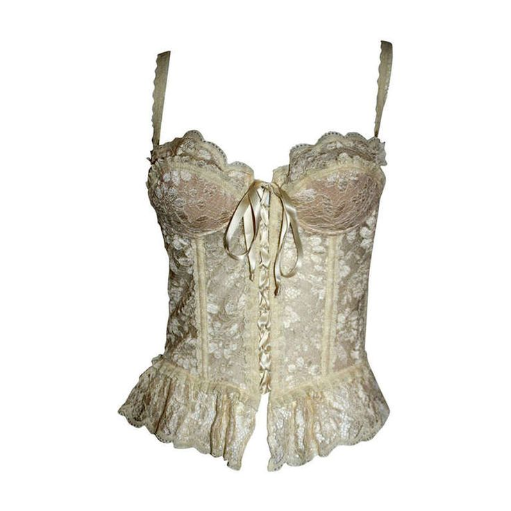 Moschino Couture Brand New Vintage Sexy Ivory Lace Bustier Corset Top.  Exquisite!