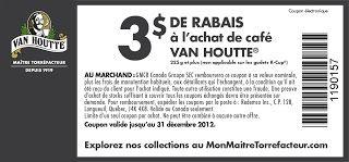 Coupon rabais imprimable 3$ café Van Houtte !   Coupons Rabais Québec