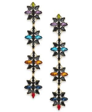 Anna Sui x INC Gold-Tone Crystal Flower Linear Drop Earrings, Created for Macy's - Gold
