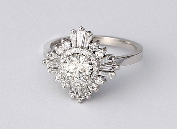 Mid Gatsby Ring - Art Deco, engagement, custom made, vintage, anniversary - white sapphires, diamond