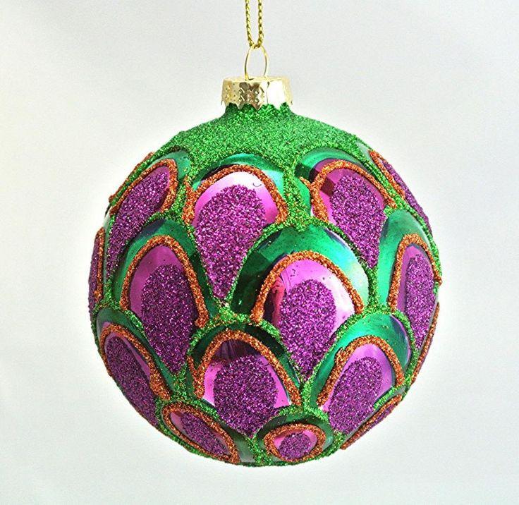 Gisela Graham Christmas Scalloped Peacock Glass Bauble Decoration