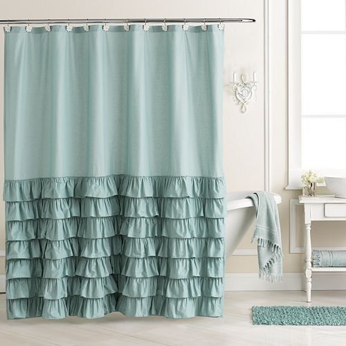 Affordable And Charming Chic Style Lc Lauren Conrad Ella Ruffle Fabric Shower Curtain Teal