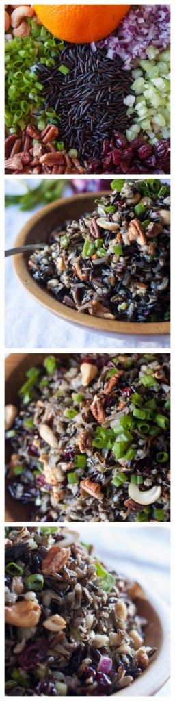 Cold Rice Salad for Fall-Wild rice, nuts, dried cranberries and a hint of orange in the vinaigrette. Outstanding! Perfect side dish for Thanksgiving or Christmas.